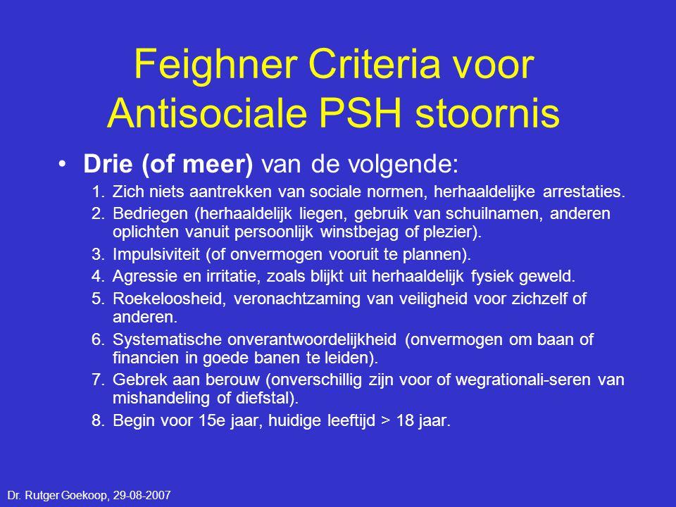 Feighner Criteria voor Antisociale PSH stoornis