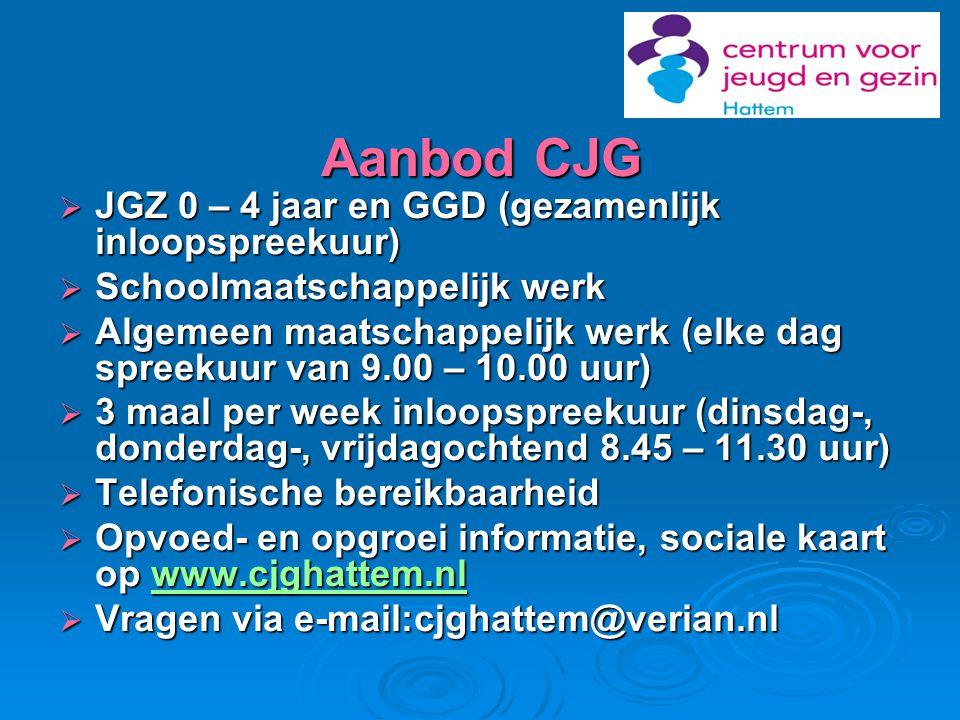 Aanbod CJG JGZ 0 – 4 jaar en GGD (gezamenlijk inloopspreekuur)