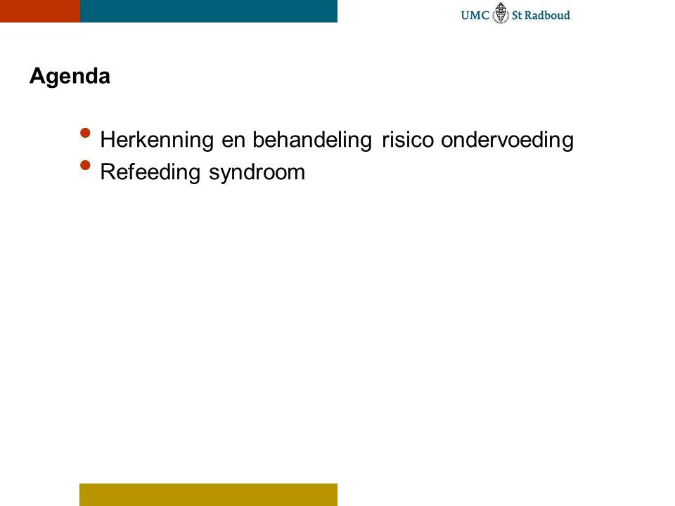 Agenda Herkenning en behandeling risico ondervoeding Refeeding syndroom
