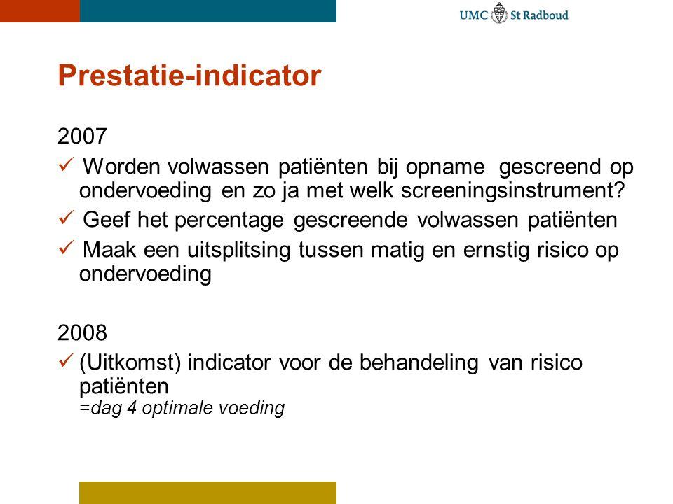 Prestatie-indicator 2007. Worden volwassen patiënten bij opname gescreend op ondervoeding en zo ja met welk screeningsinstrument