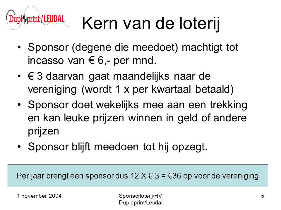 Kern van de loterij Sponsor (degene die meedoet) machtigt tot incasso van € 6,- per mnd.