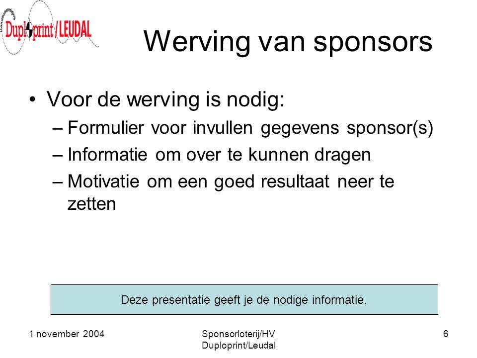 Werving van sponsors Voor de werving is nodig: