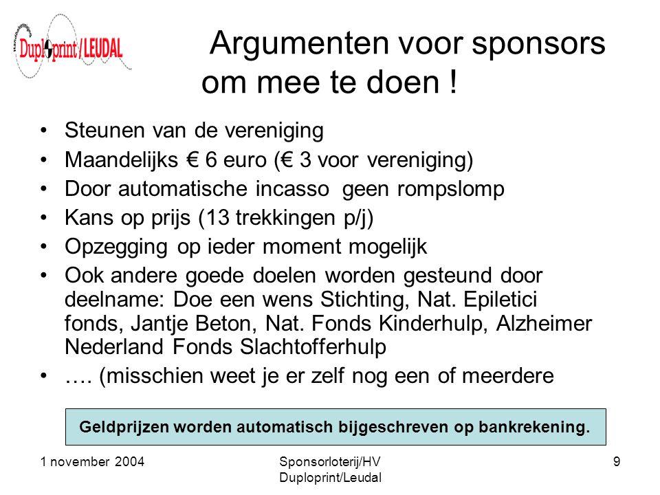 Argumenten voor sponsors om mee te doen !