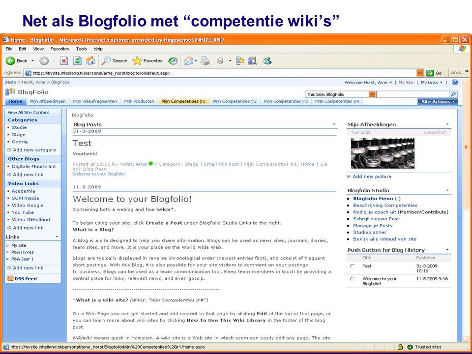 Net als Blogfolio met competentie wiki's