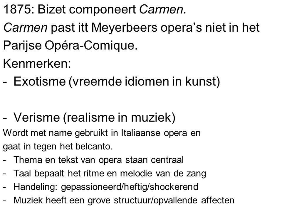 1875: Bizet componeert Carmen.