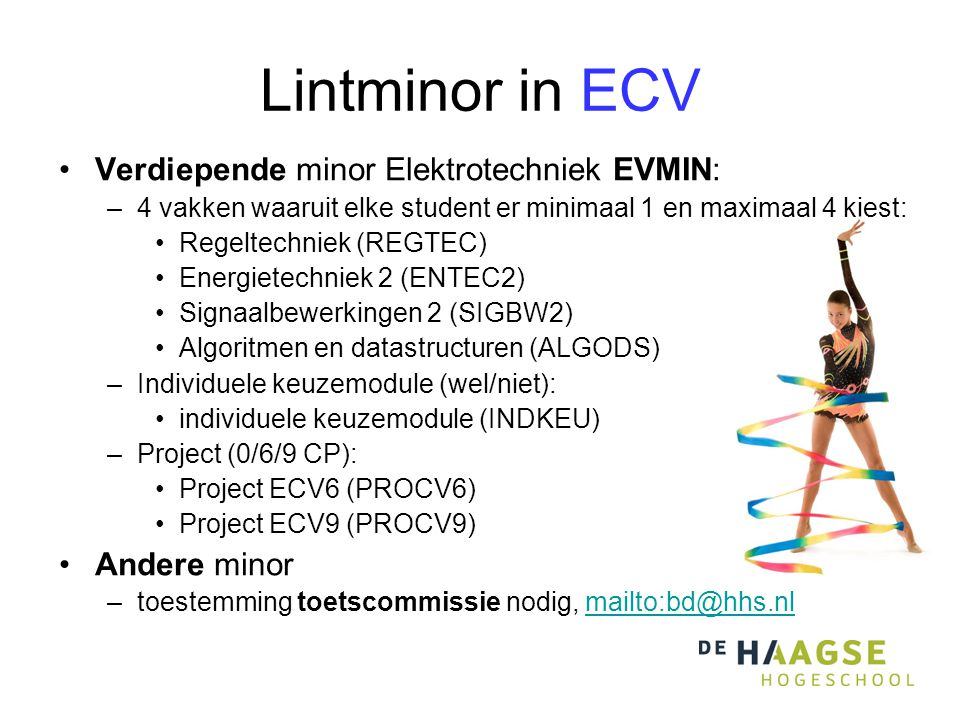 Lintminor in ECV Verdiepende minor Elektrotechniek EVMIN: Andere minor