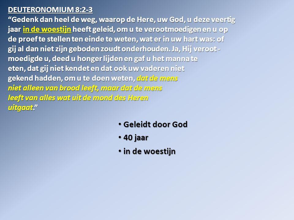 Geleidt door God 40 jaar in de woestijn DEUTERONOMIUM 8:2-3