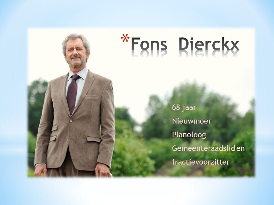 Fons Dierckx 68 jaar Nieuwmoer Planoloog Gemeenteraadslid en