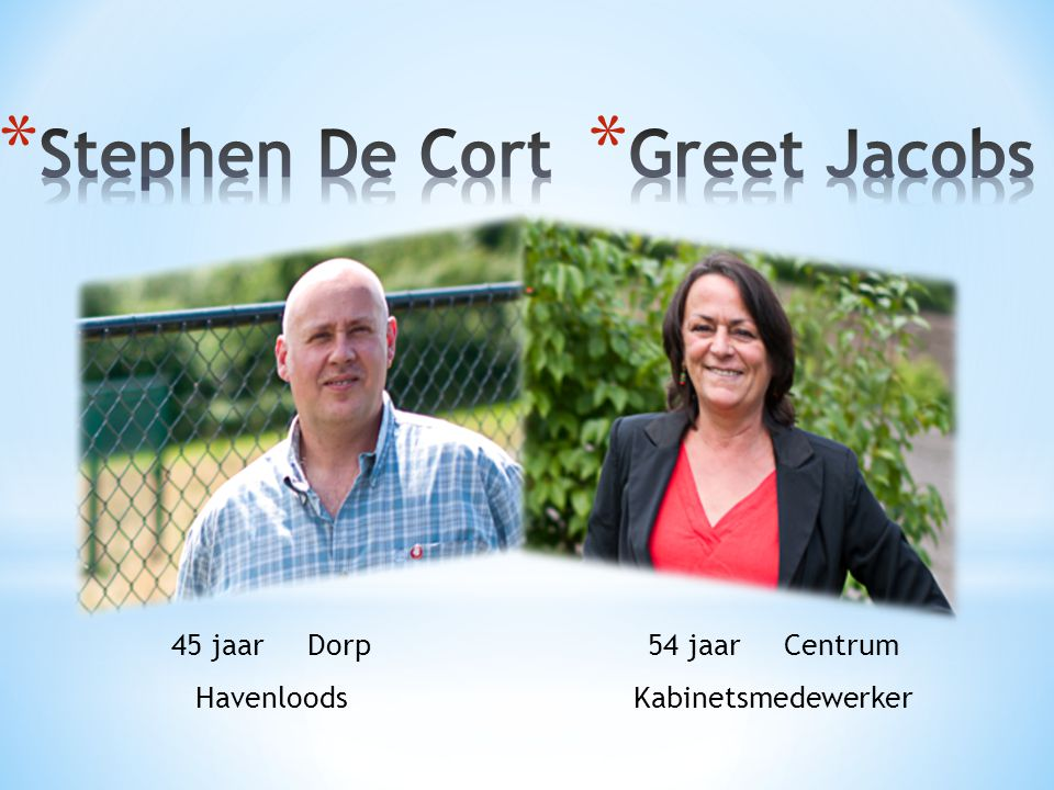 Stephen De Cort Greet Jacobs 45 jaar Dorp Havenloods 54 jaar Centrum