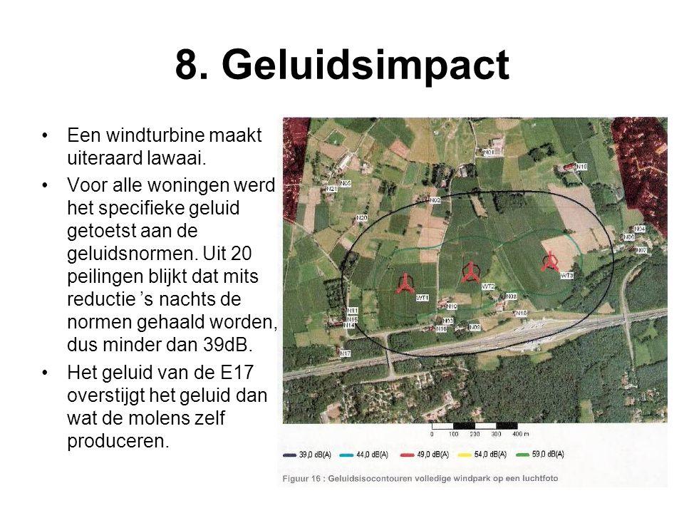8. Geluidsimpact Een windturbine maakt uiteraard lawaai.
