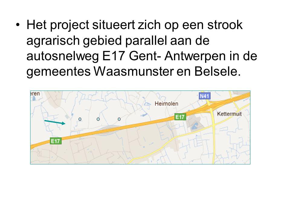 Het project situeert zich op een strook agrarisch gebied parallel aan de autosnelweg E17 Gent- Antwerpen in de gemeentes Waasmunster en Belsele.
