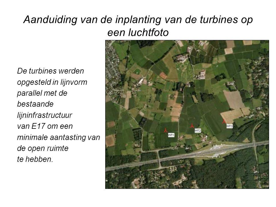 Aanduiding van de inplanting van de turbines op een luchtfoto
