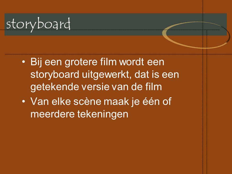 storyboard Bij een grotere film wordt een storyboard uitgewerkt, dat is een getekende versie van de film.