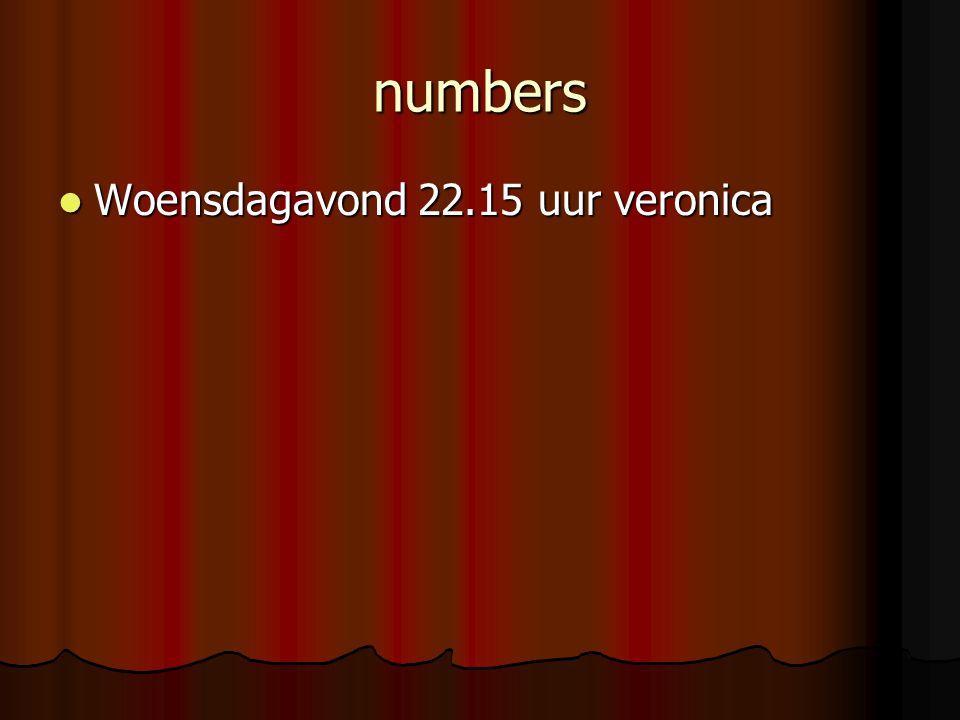 numbers Woensdagavond 22.15 uur veronica