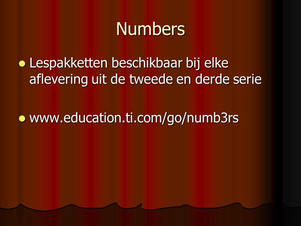 Numbers Lespakketten beschikbaar bij elke aflevering uit de tweede en derde serie.