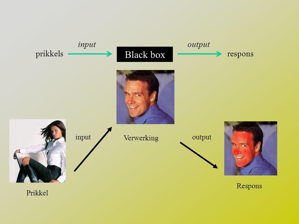 Black box input output prikkels respons Prikkel input Verwerking