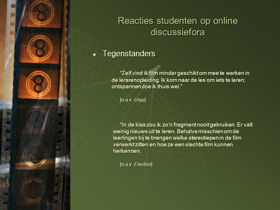 Reacties studenten op online discussiefora