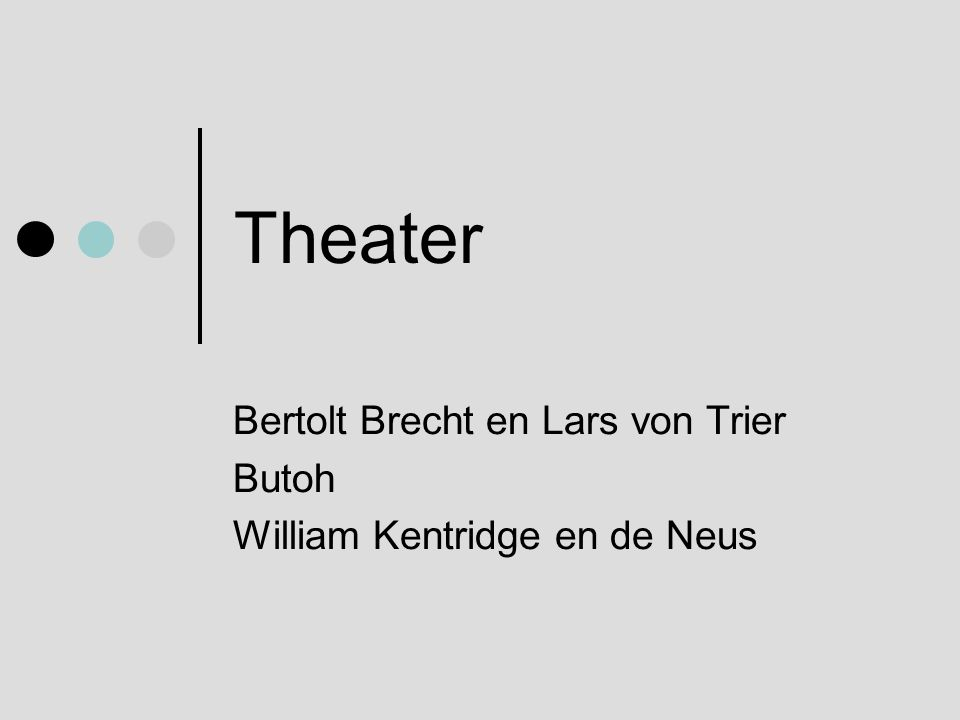 Bertolt Brecht en Lars von Trier Butoh William Kentridge en de Neus