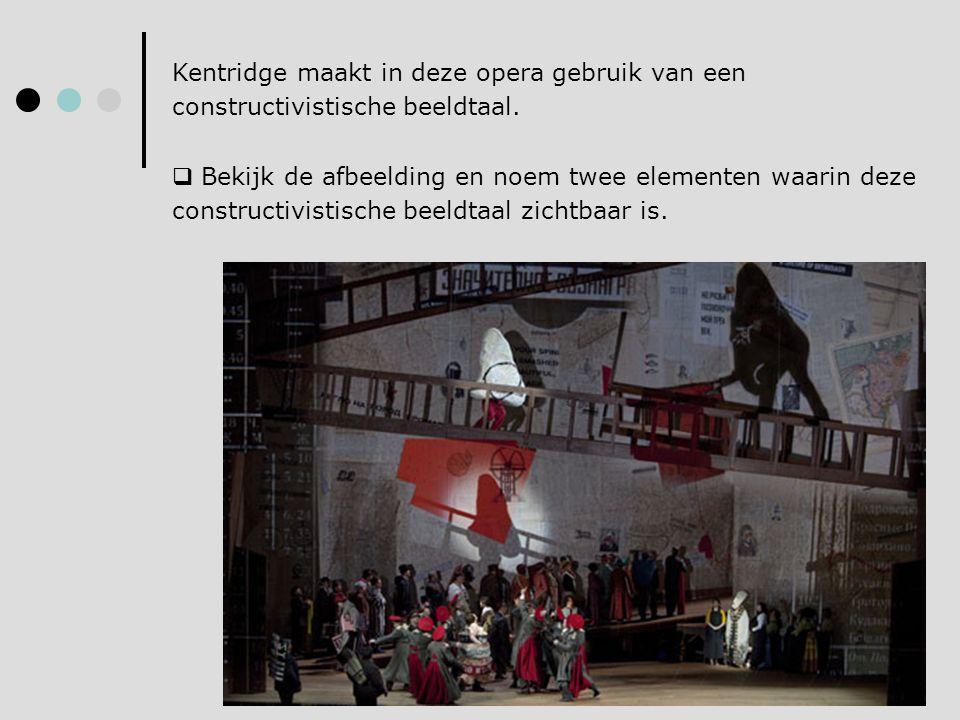 Kentridge maakt in deze opera gebruik van een constructivistische beeldtaal.