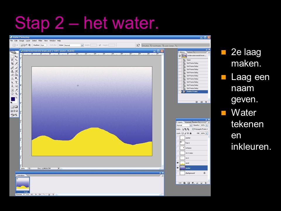 Stap 2 – het water. 2e laag maken. Laag een naam geven.