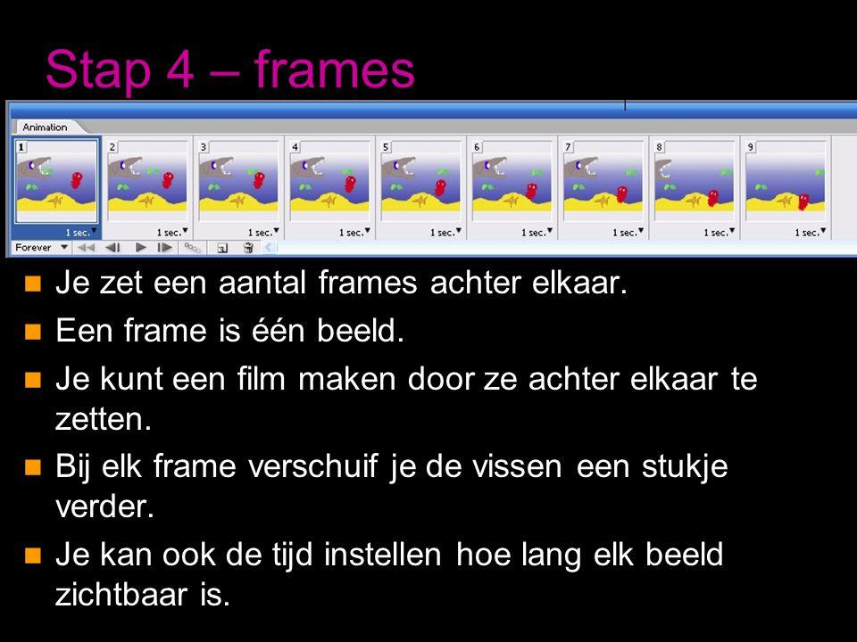 Stap 4 – frames Je zet een aantal frames achter elkaar.