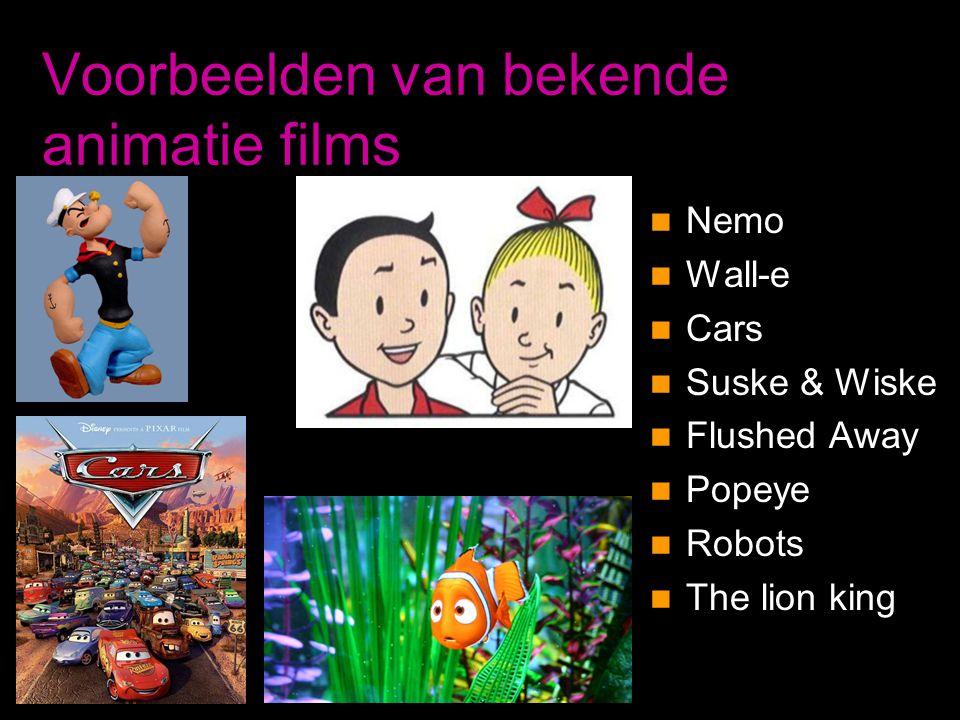 Voorbeelden van bekende animatie films
