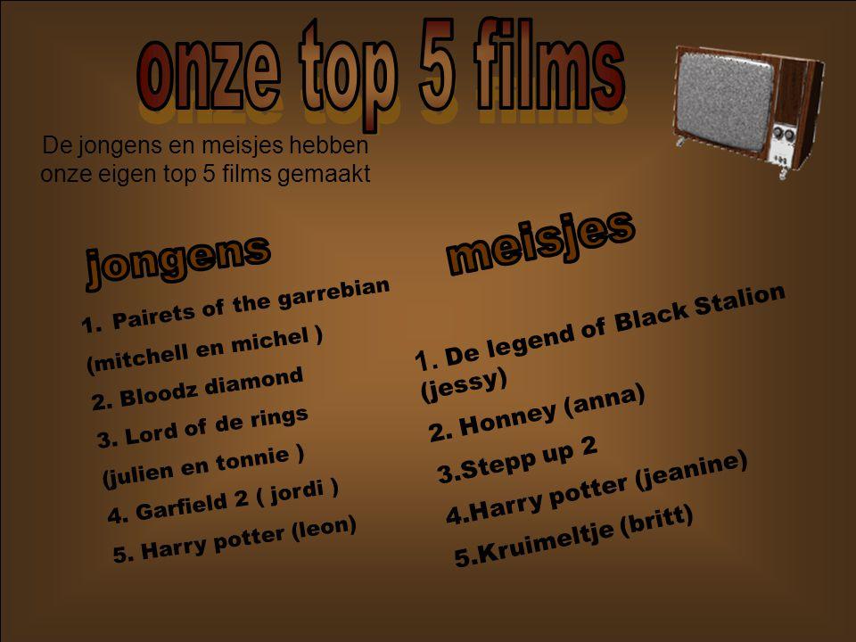 De jongens en meisjes hebben onze eigen top 5 films gemaakt
