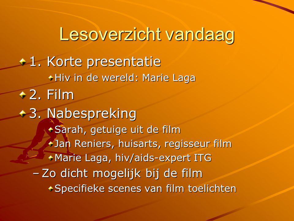 Lesoverzicht vandaag 1. Korte presentatie 2. Film 3. Nabespreking