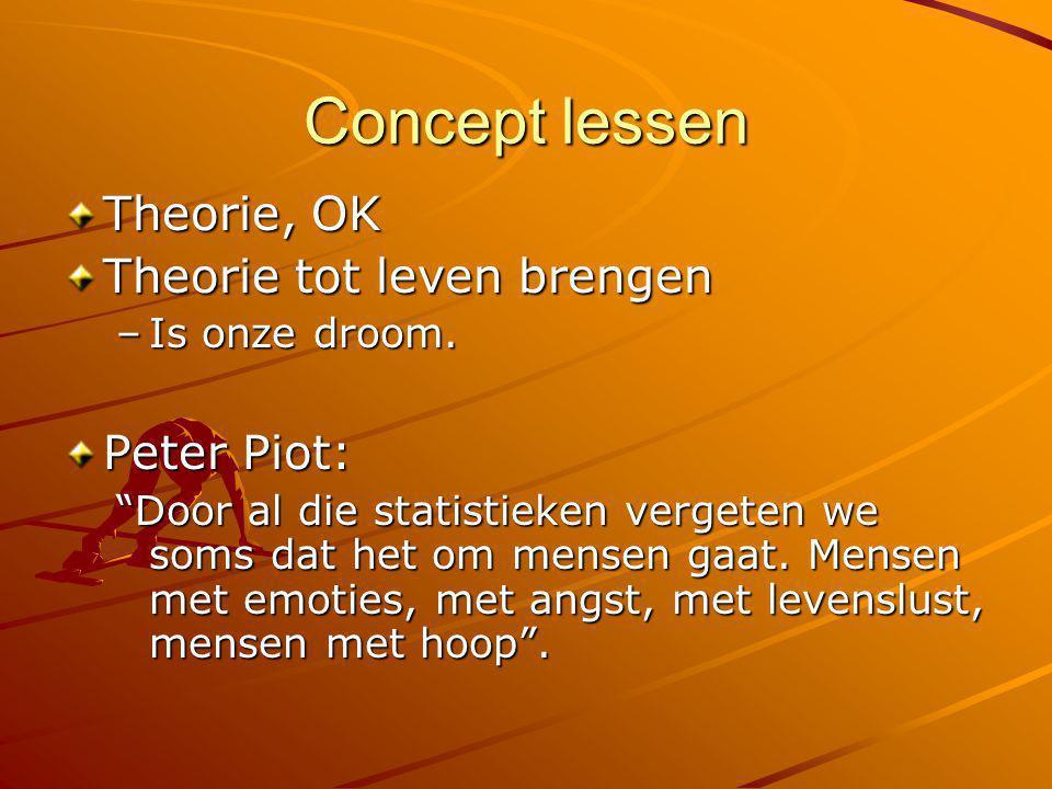 Concept lessen Theorie, OK Theorie tot leven brengen Peter Piot: