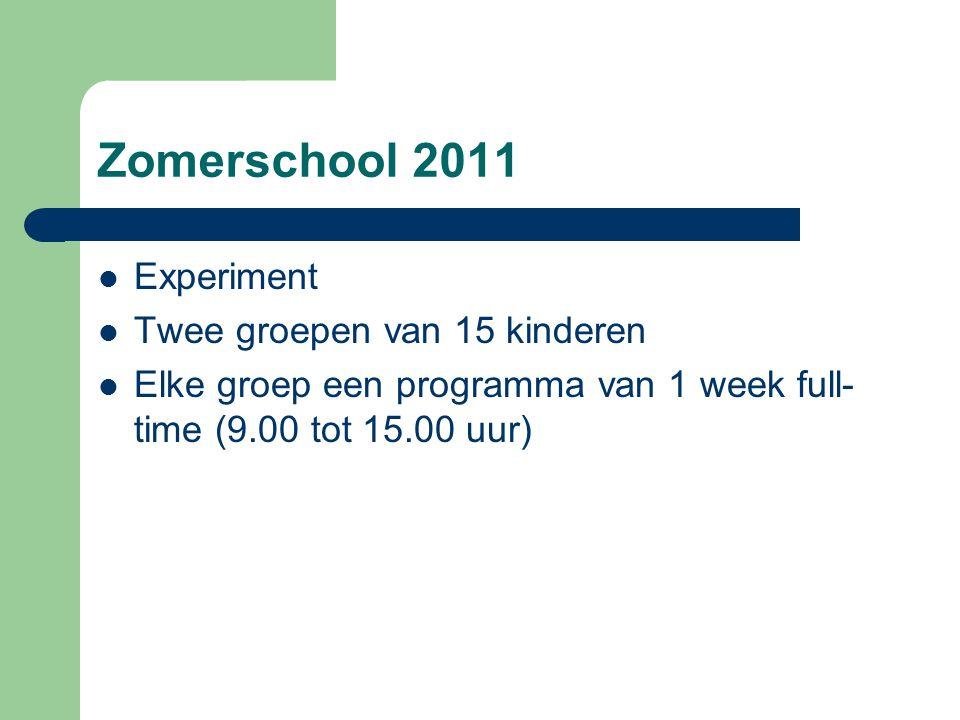 Zomerschool 2011 Experiment Twee groepen van 15 kinderen