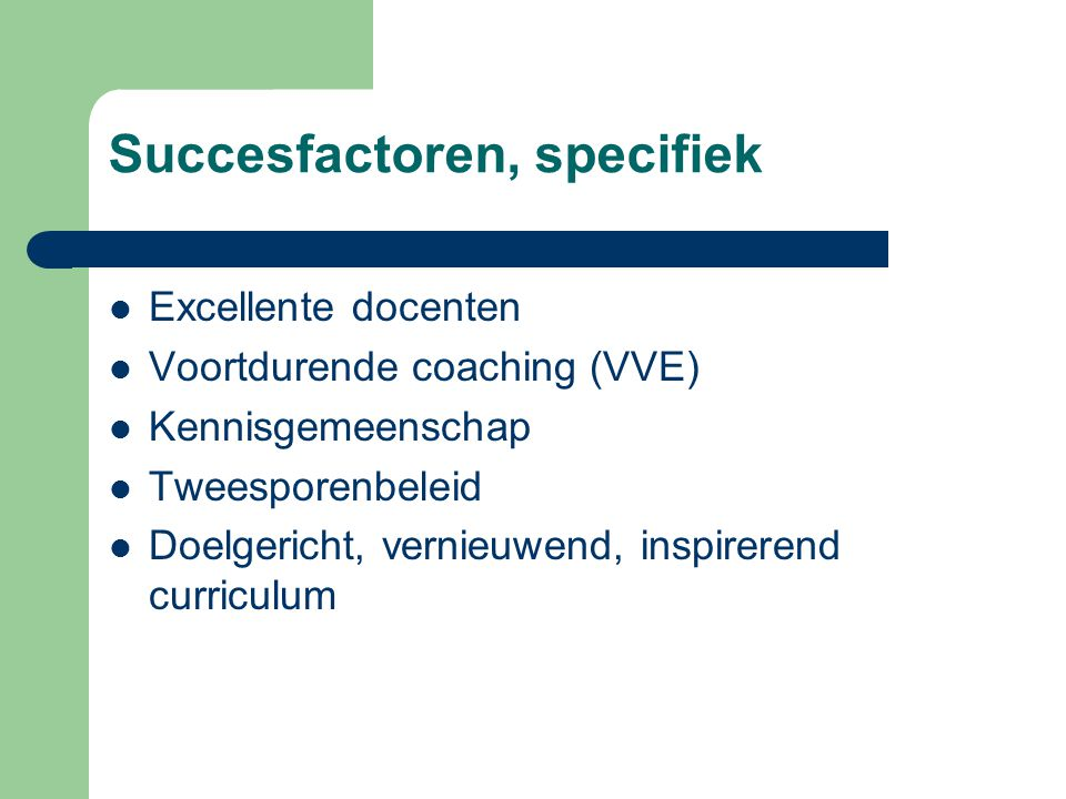 Succesfactoren, specifiek