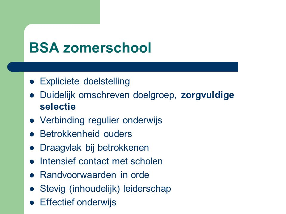 BSA zomerschool Expliciete doelstelling