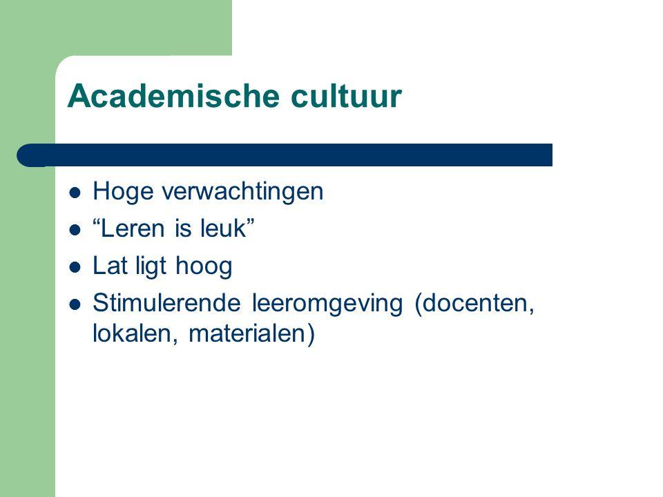 Academische cultuur Hoge verwachtingen Leren is leuk Lat ligt hoog