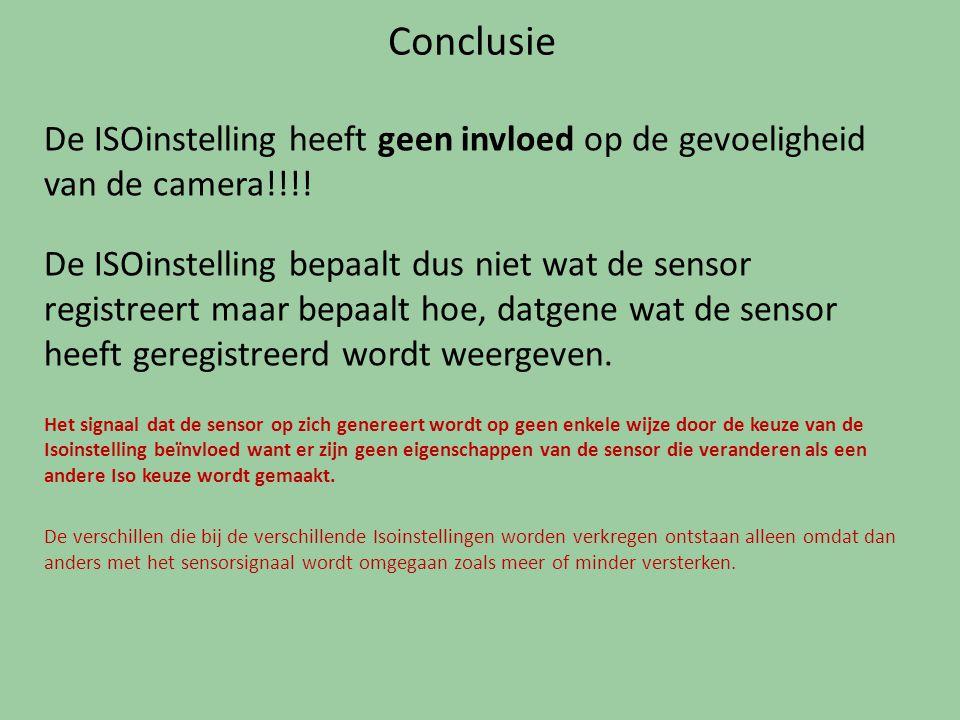 Conclusie De ISOinstelling heeft geen invloed op de gevoeligheid van de camera!!!!