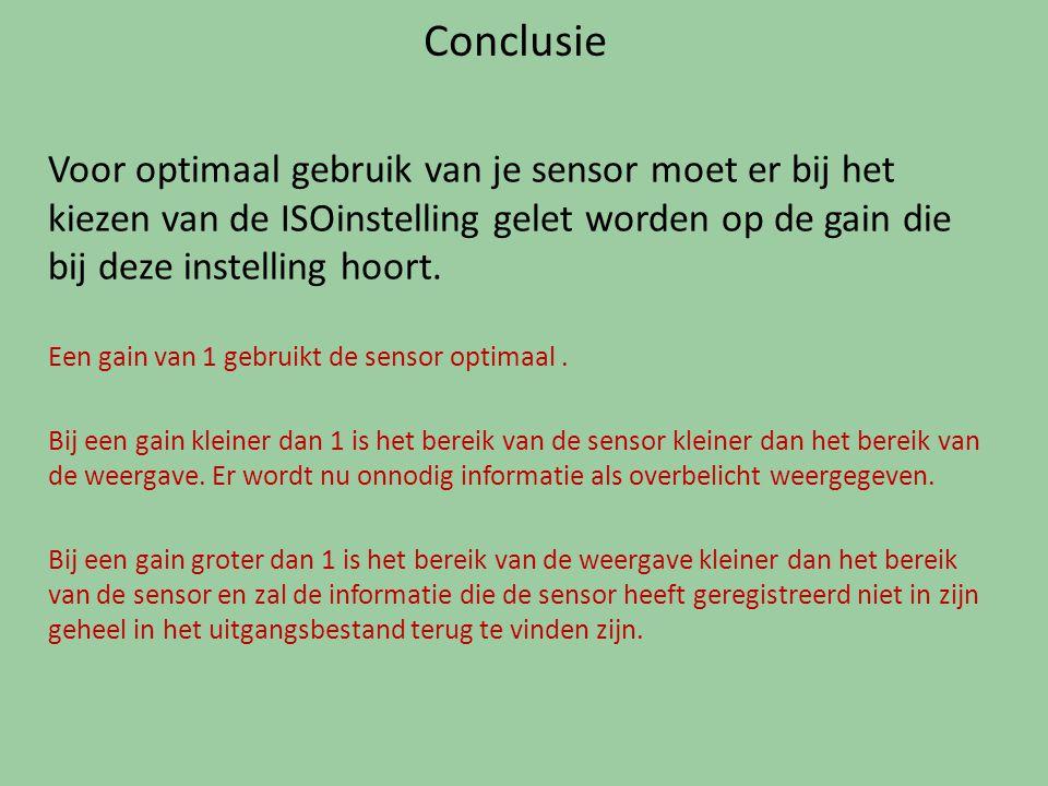 Conclusie Voor optimaal gebruik van je sensor moet er bij het kiezen van de ISOinstelling gelet worden op de gain die bij deze instelling hoort.