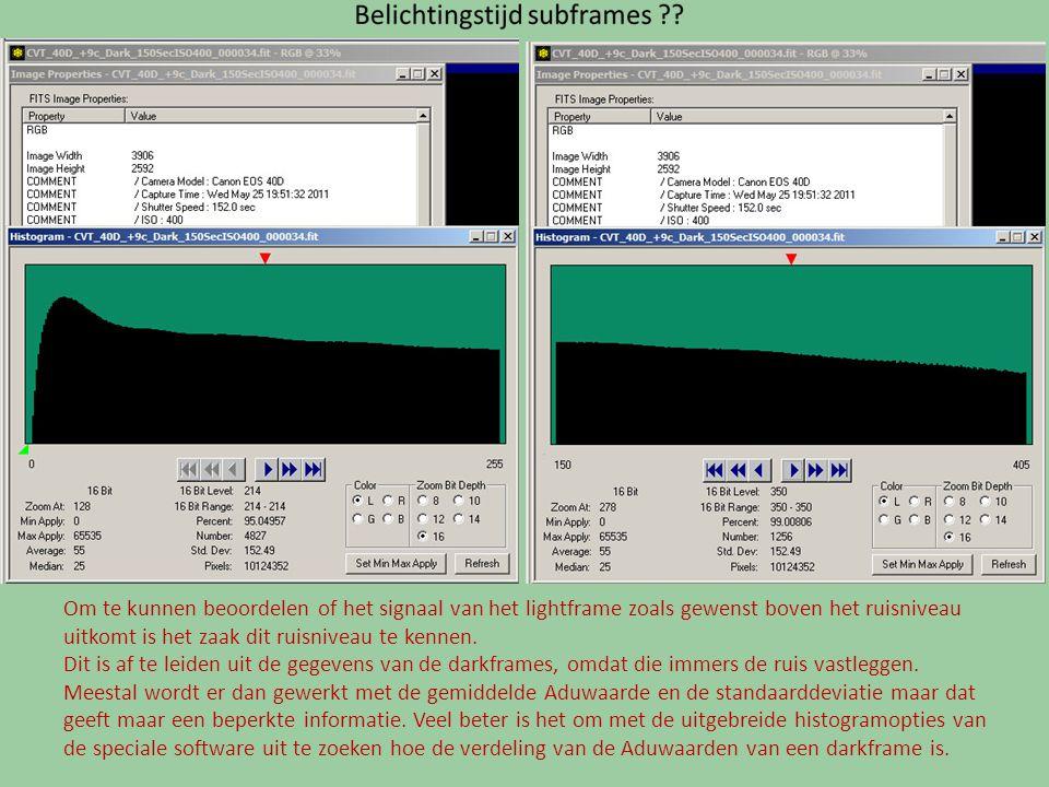Om te kunnen beoordelen of het signaal van het lightframe zoals gewenst boven het ruisniveau uitkomt is het zaak dit ruisniveau te kennen.