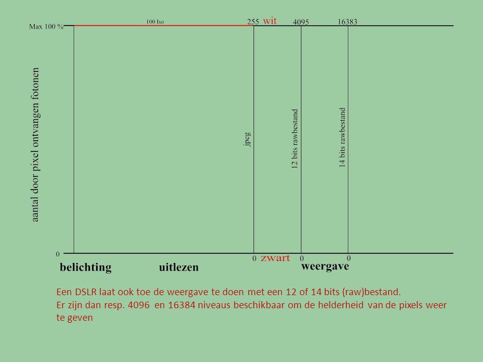 Een DSLR laat ook toe de weergave te doen met een 12 of 14 bits (raw)bestand.