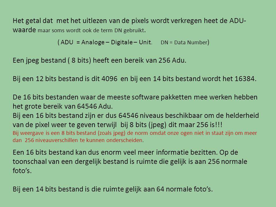 Het getal dat met het uitlezen van de pixels wordt verkregen heet de ADU-waarde maar soms wordt ook de term DN gebruikt.