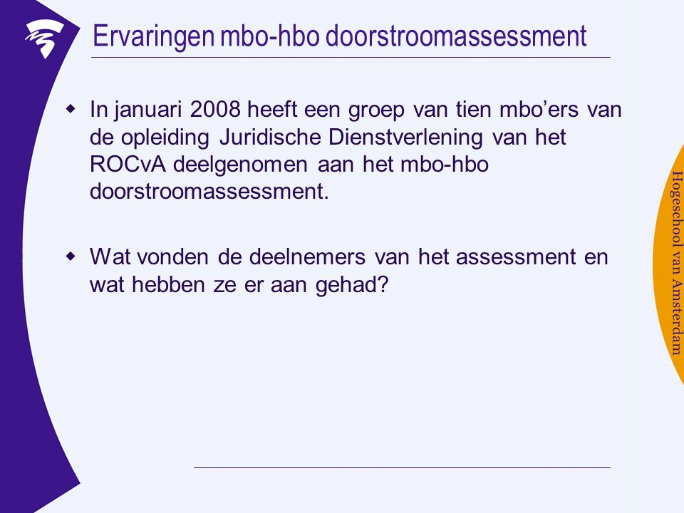 Ervaringen mbo-hbo doorstroomassessment