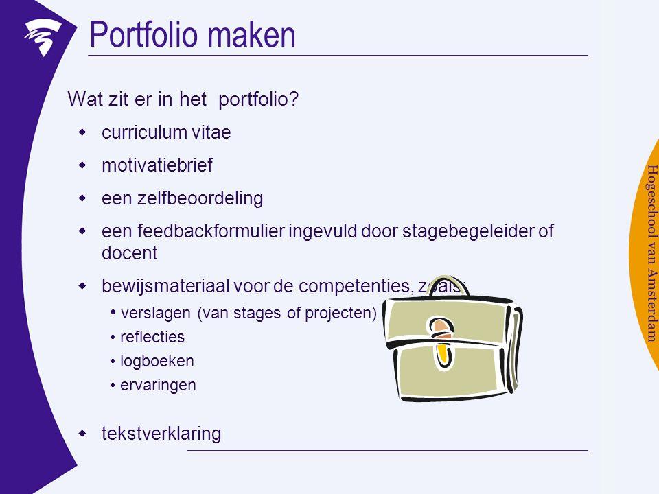 Portfolio maken Wat zit er in het portfolio curriculum vitae