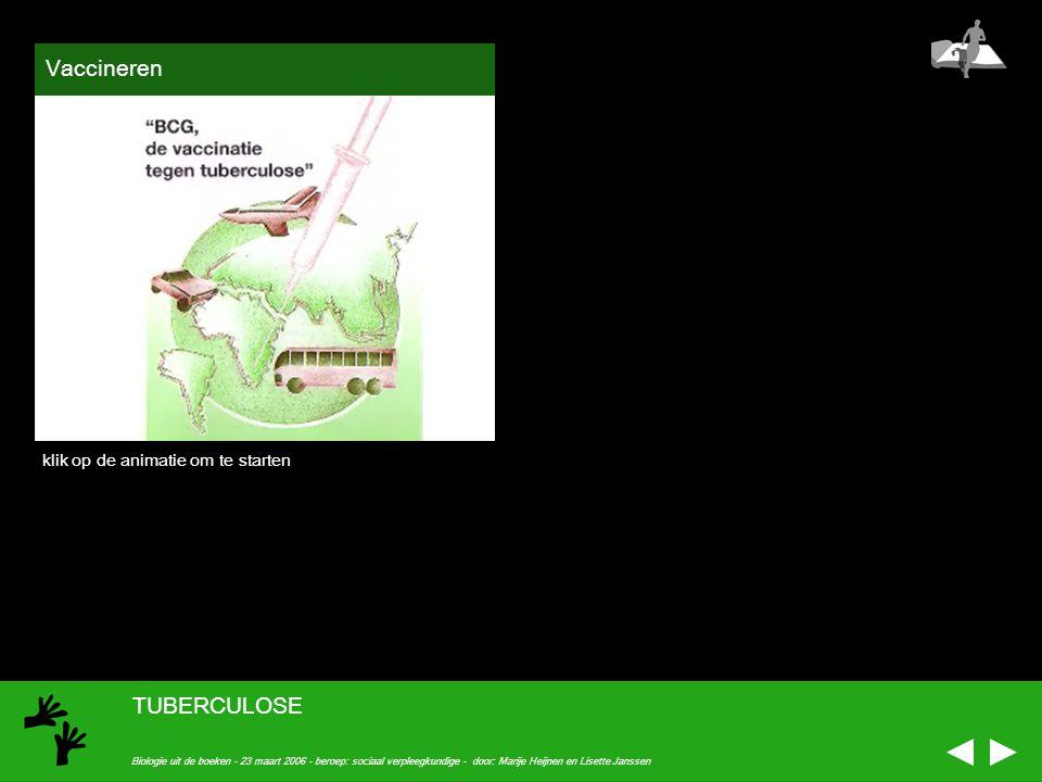 Vaccineren TUBERCULOSE klik op de animatie om te starten