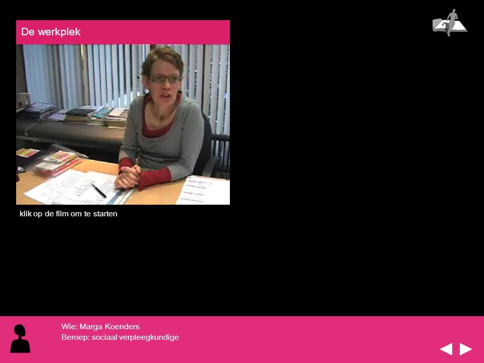 De werkplek klik op de film om te starten Wie: Marga Koenders