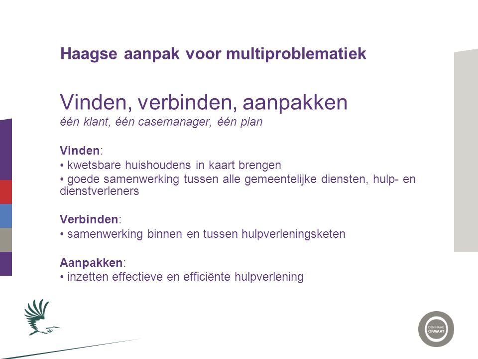 Haagse aanpak voor multiproblematiek