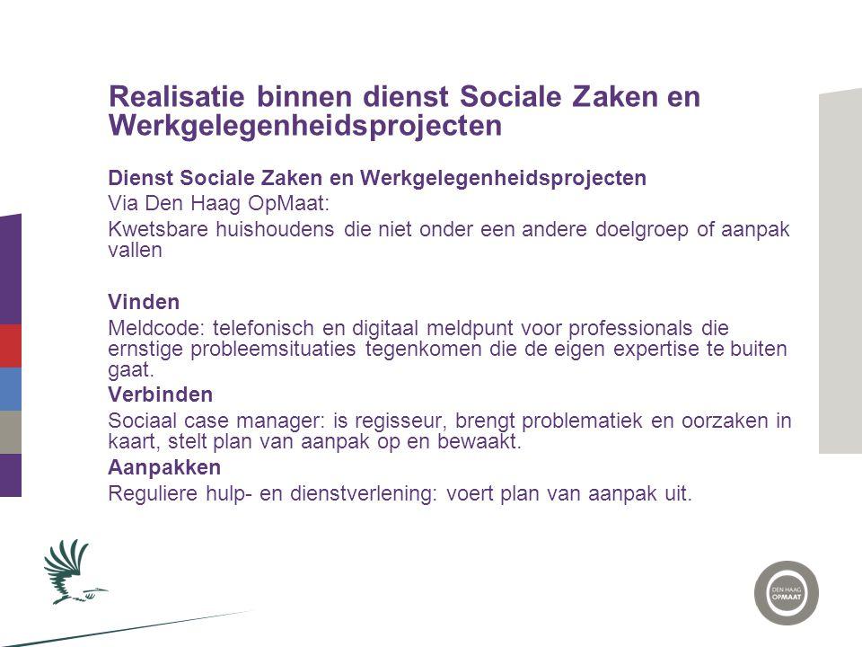 Realisatie binnen dienst Sociale Zaken en Werkgelegenheidsprojecten
