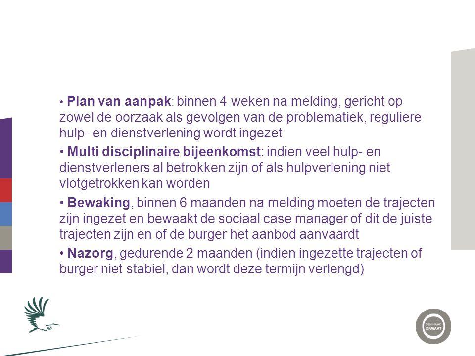 Plan van aanpak: binnen 4 weken na melding, gericht op zowel de oorzaak als gevolgen van de problematiek, reguliere hulp- en dienstverlening wordt ingezet