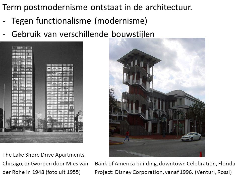 Term postmodernisme ontstaat in de architectuur.