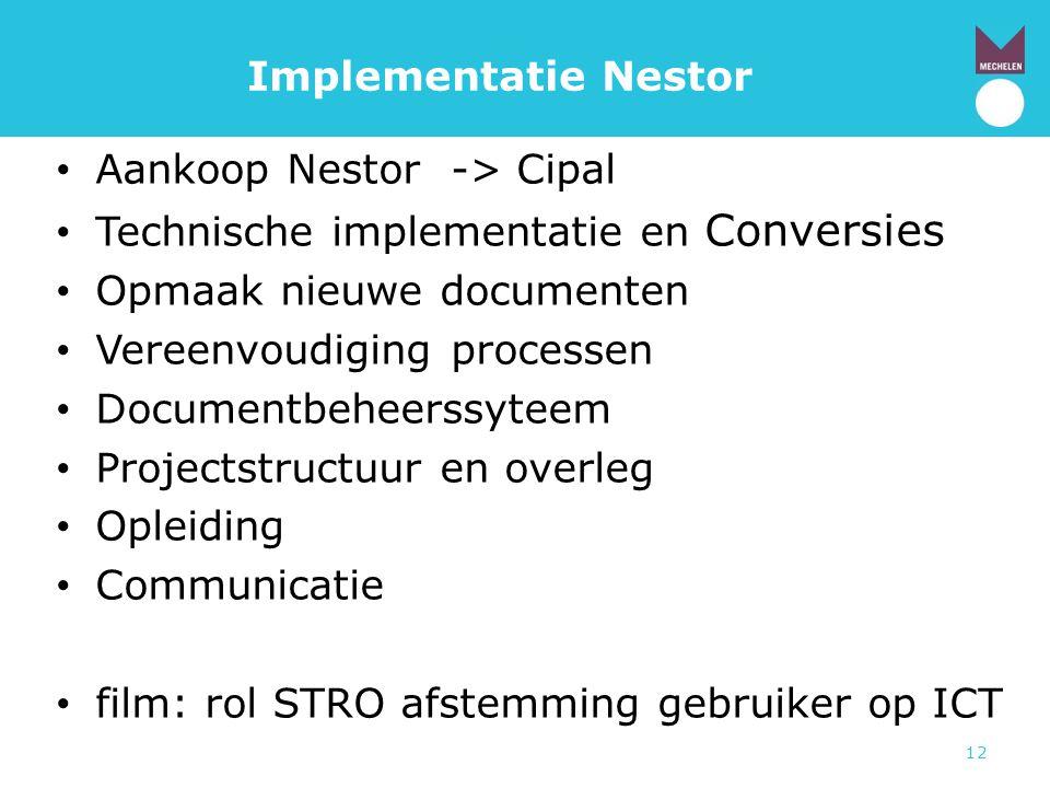 Implementatie Nestor Aankoop Nestor -> Cipal. Technische implementatie en Conversies. Opmaak nieuwe documenten.