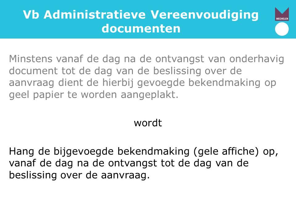 Vb Administratieve Vereenvoudiging documenten