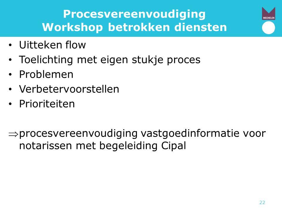 Procesvereenvoudiging Workshop betrokken diensten