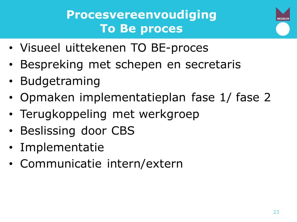 Procesvereenvoudiging To Be proces